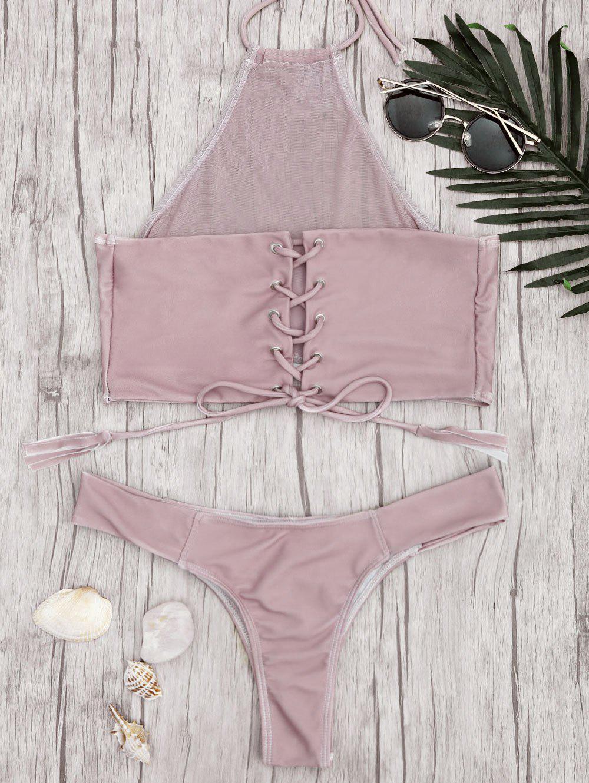 Mesh High Neck Lace Up Bikini Set 220529602