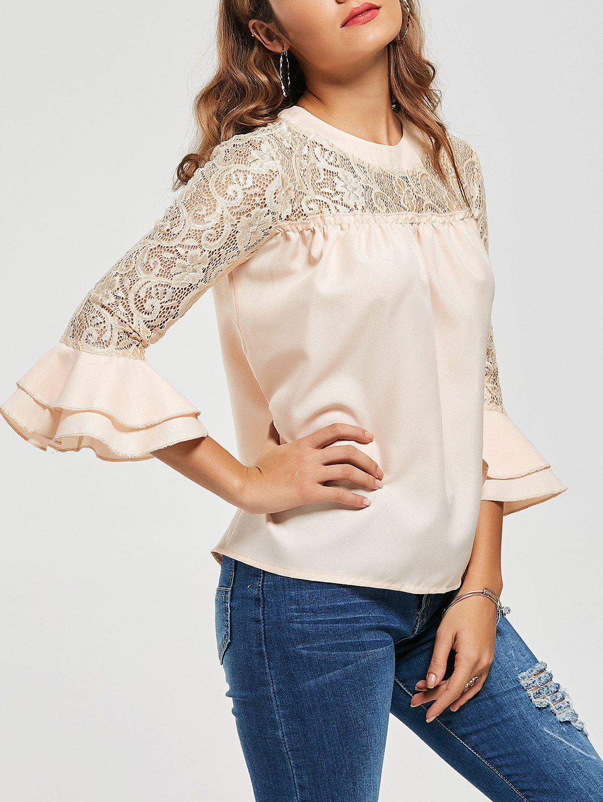 Lace Trim Flare Hlle Hollow Out Bluse