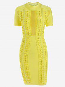فستان الضمادة شبكي ضيق - الأصفر S