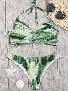 Conjunto De Bikini Cruzado De Impresión De Hojas De Palma - Verde S