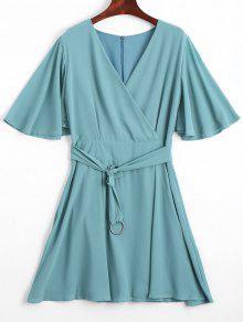 Flouncy Sleeve Belted Chiffon Dress - Pea Green L