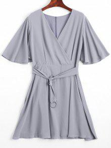 Flouncy Sleeve Belted Chiffon Dress - Gray S