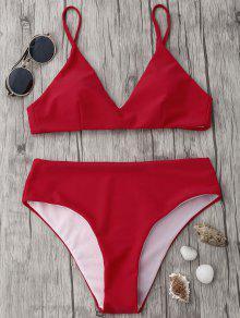 Spaghetti Strap High Waist Bikini Set - Red M