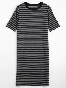 Striped Casual Slit Shift Dress - Stripe