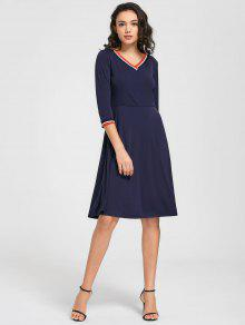 V Neck Three Quarter Sleeve Dress - Purplish Blue 2xl