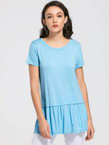 Round Collar Ruched Plain Tee - Sky Blue Xl