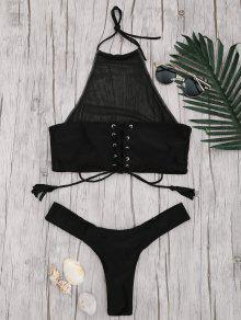 Mesh High Neck Lace Up Bikini Set - Black M