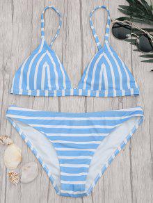 Chevron Striped Padded Cami Bikini Set - Blue And White L