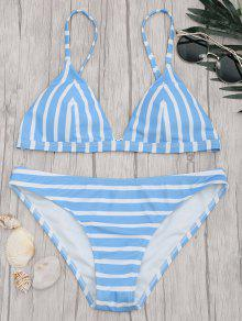 Chevron Striped Padded Cami Bikini Set - Blue And White S