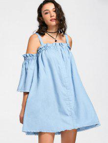 Square Collar Ruffles Frayed Hem Dress - Light Blue S