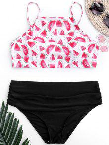 Ruched Watermelon High Cut Bikini - Black L