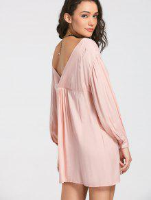 V Neck Button Up Mini Dress - Pink M