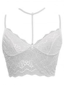 Choker Neck Strappy Lace Bralette - White S
