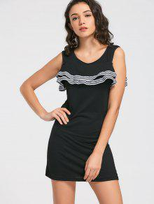 Buy Flounces Layered Mini Dress - BLACK 2XL