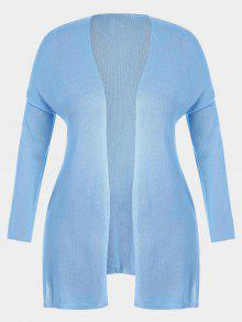 Open Front Plus Size Slit Cardigan - Light Blue 3xl