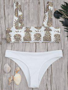 Square Neck Pineapple Print Bikini Set - White S