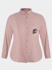 Plus Size Pocket Embroidered Shirt - Pink 4xl