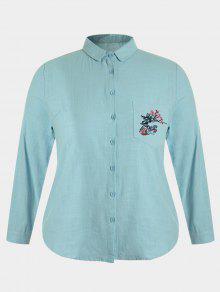 Chemise Brodée à Grande Taille - Bleu Vert 4xl