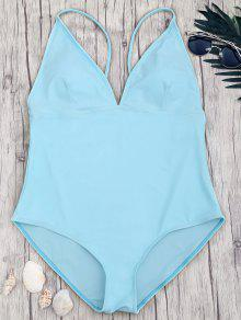 Shaping Plus Size V Neck One Piece Swimsuit - Blue 2xl