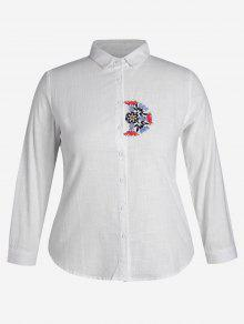 Plus Size Embroidered Single Breasted Shirt - White 4xl