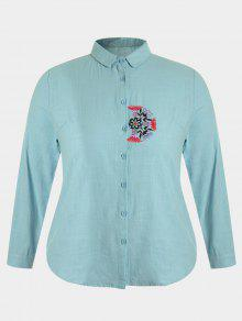 Plus Size Embroidered Single Breasted Shirt - Blue Green 2xl