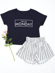 Combinaison De Style Lounge Avec Short à Rayures - Bleu Violet Xl