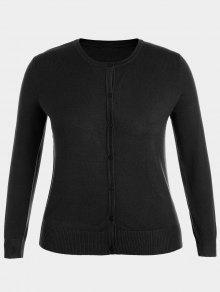 Plus Size Single Breasted Knitwear - Black 4xl