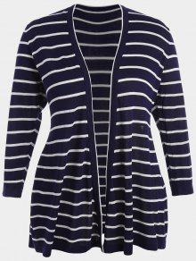 Plus Size Striped Open Front Cardigan - Purplish Blue 3xl