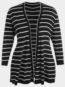 Plus Size Striped Open Front Cardigan - Black 3xl