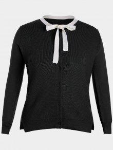 Buy Side Slit Bow Tie Plus Size Knitwear - BLACK 4XL