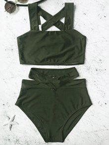 Conjunto De Bikini Con Cintura Alta En Jaula - Verde Cazador L