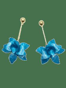 Stereo Floral Design Pendant Drop Earrings - Blue