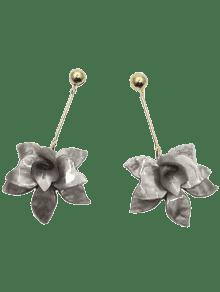 Stereo Floral Design Pendant Drop Earrings - Smoky Gray