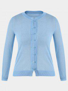 Buttons Plus Size Cardigan - Light Blue Xl