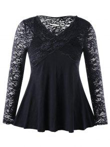 Plus Size Lace Insert Empire Taille Top - Schwarz 5xl