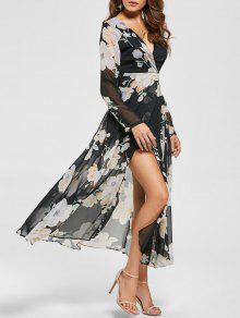 فستان طباعة الأزهار شير انقسام طويلة الأكمام الشيفون متدفق - أسود S
