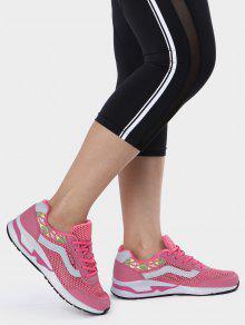 تنفس هندسية نمط شبكة أحذية رياضية - الخوخ الأحمر 40