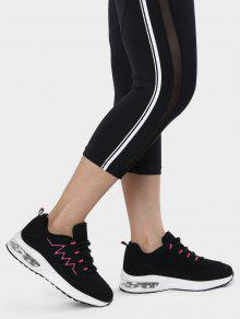 Air Cushion Embroider Line Athletic Shoes - Rose Red 38