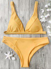 Padded Plunge Bikini Top And Bottoms - Mustard M