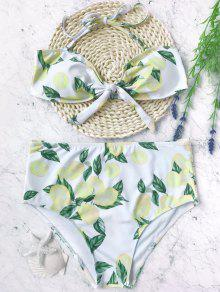 Lemon High Waisted Bandeau Bikini Set - White And Yellow S