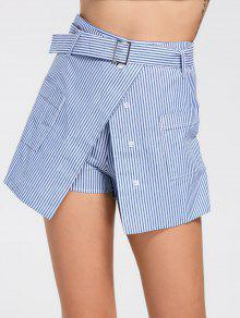 Belted Striped Skorts With Pockets - Light Blue 2xl