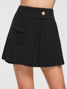 High Waist Pocket Pleated Skirt - Black Xl