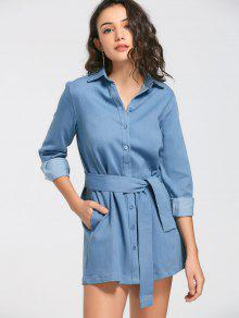 Long Sleeve Belted Denim Shirt Dress - Denim Blue S