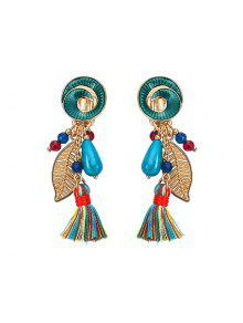 Vintage Leaf Tassel Drop Earrings - Green