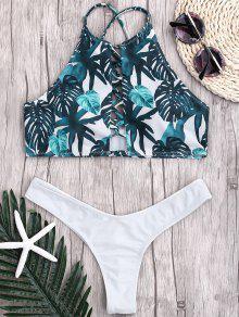 Bikini Strap Acanalado De La Correa De La Hoja - Blanco S