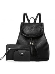 Zaful Tassel Faux Leather Backpack Set - Black