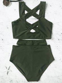 f3e75f9ac6 15% OFF  2019 Caged High Waisted Bikini Set In HUNTER GREEN L