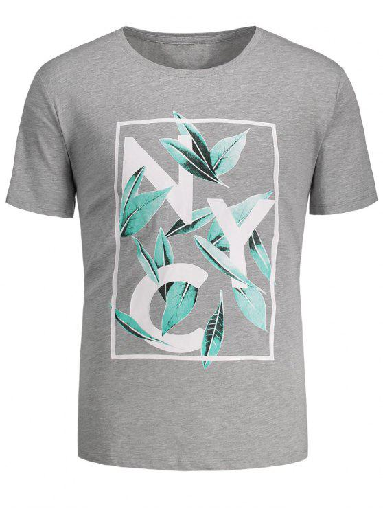 ladies Leaf Printed Graphic Tee - GRAY M