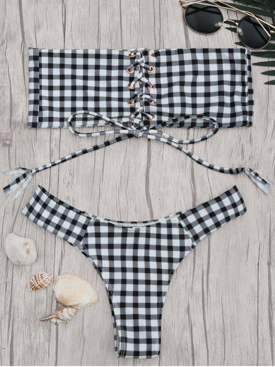 Ensemble de bikini à encolure en dentelle Gingham - Blanc et Noir M