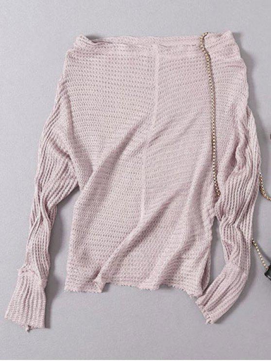 Weiter schlanker Pullover mit Dolman Ärmel und Schrägeausschnitt - Pink Eine Größe